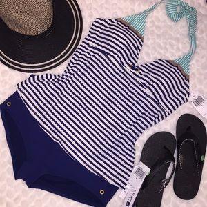 Sperry Top Sider 2PC Stripe Halter Short Swim Suit